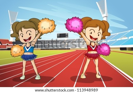 illustration of girls and race track in a stadium - stock vector