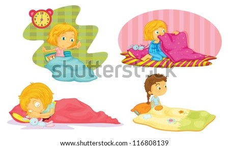 illustration of girls on a white background - stock vector