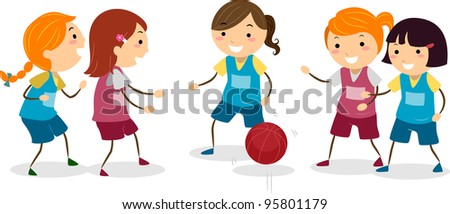 Illustration of Girls Playing Basketball - stock vector