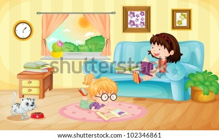 Illustration of girls reading at home - stock vector