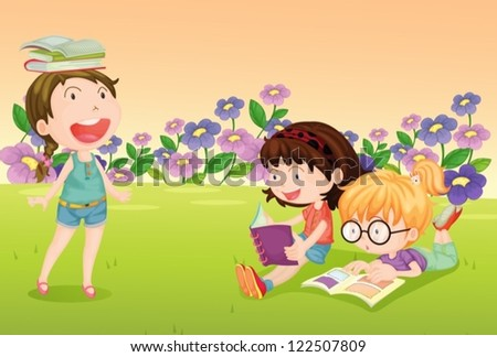 Illustration of girls reading books in a beautiful nature - stock vector