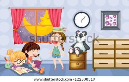 Illustration of girls reading books in a room