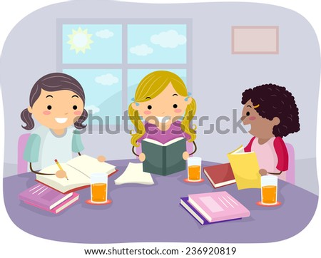 Illustration of Girls Studying Together in Their Home - stock vector