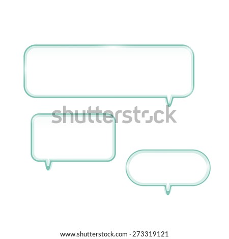 Illustration of glass chat bubble shelves isolated on a white background. - stock vector