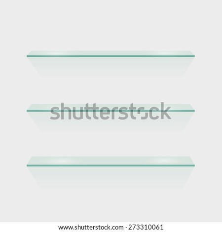 Illustration of glass shelves isolated against a white wall. - stock vector