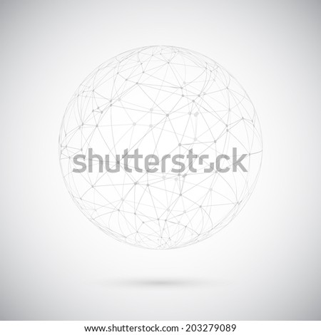 Illustration of Global Network Lines with Dots Connection Vector Background - stock vector