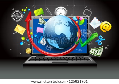 illustration of globe and business item coming out of laptop - stock vector
