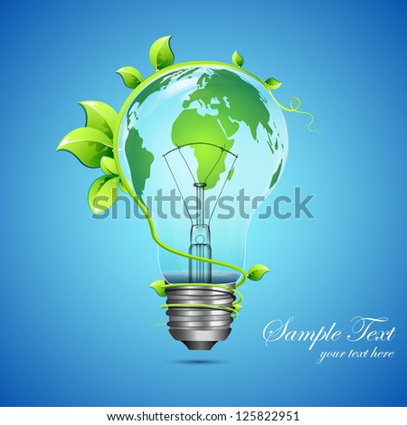 illustration of globe on bulb with growing creeper around it - stock vector