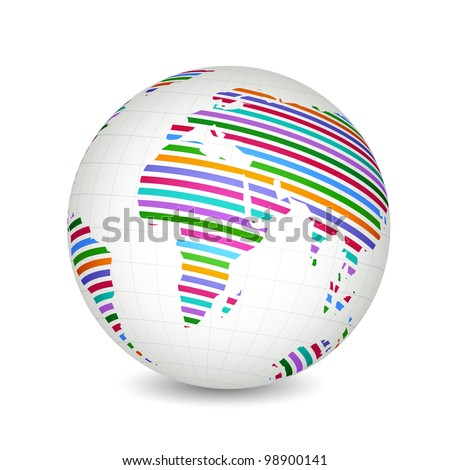 illustration of globe with colorful world map - stock vector