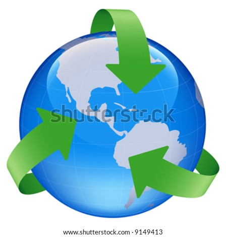 illustration of globe world map with recycle arrow symbol