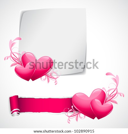 illustration of glossy heart on love template - stock vector