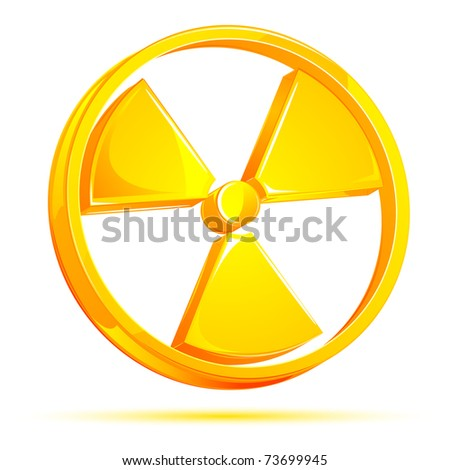 illustration of glossy nuclear sign on white background - stock vector