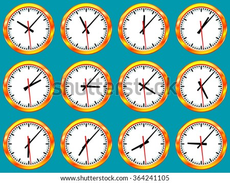 Illustration of gold clock collection with different time according to the time zones. All arrows are free rotated - stock vector