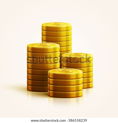illustration of gold coins isolated on white realistic theme