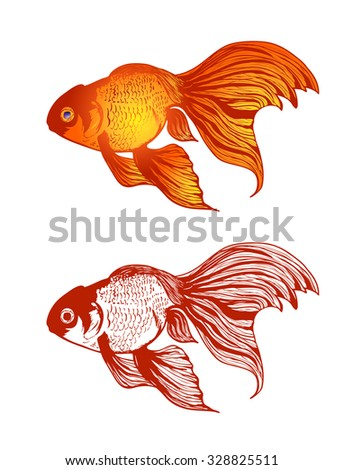 Illustration of Gold Fish Variations Over White Background - stock vector