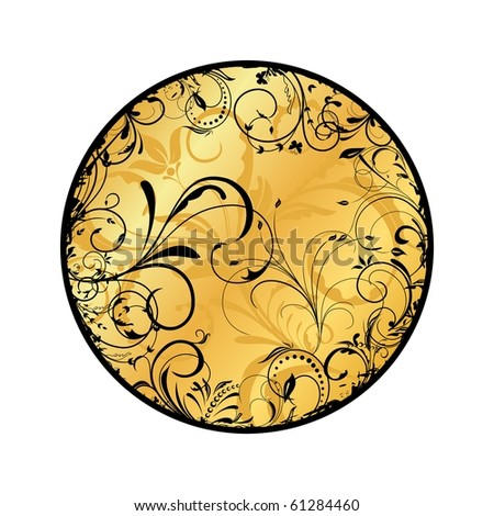 Illustration of gold floral medallion. Vector - stock vector