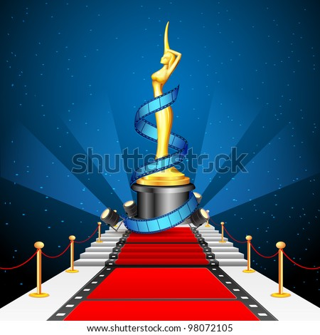 illustration of golden cinema award with film reel on red carpet - stock vector