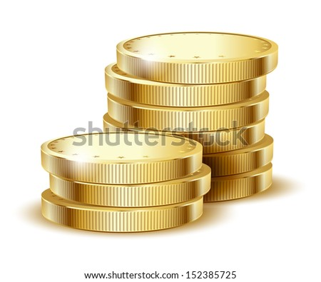 illustration of golden coins isolated on a white background. Vector EPS10. - stock vector