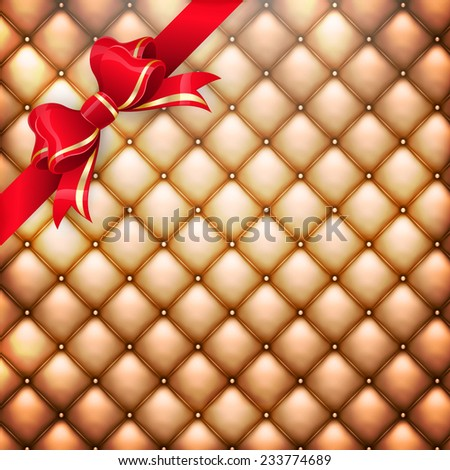 Illustration of golden realistic upholstery leather pattern background with red gift bow. EPS 10 vector file included - stock vector