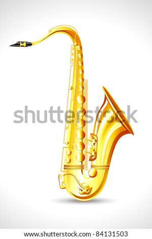 illustration of golden saxophone on abstract background