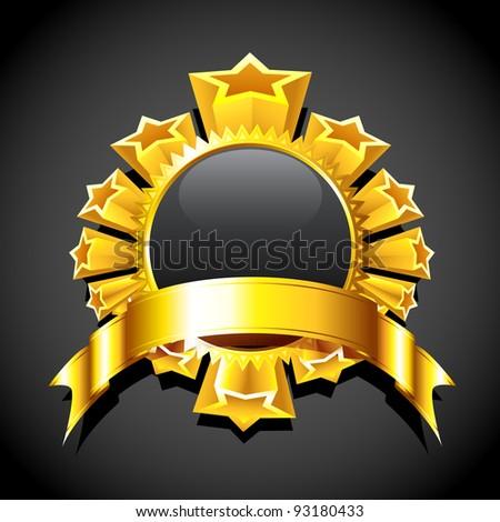 illustration of golden star around circular copy space - stock vector