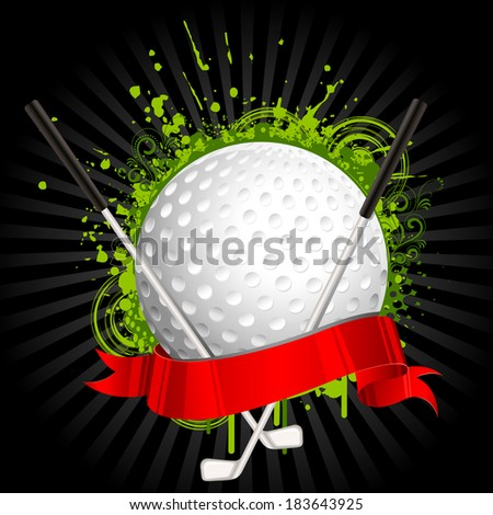 illustration of golf ball and stick wrapped in ribbon on grungy floral background - stock vector