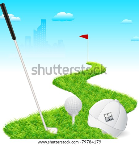 illustration of golf cap with golf stick and golf ball - stock vector