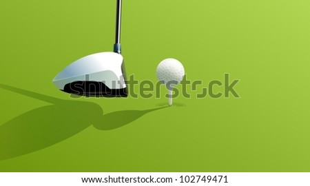 Illustration of golf drive on green - stock vector