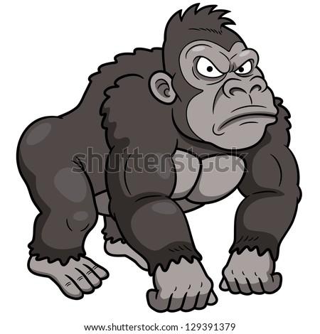 illustration of Gorilla Cartoon - stock vector