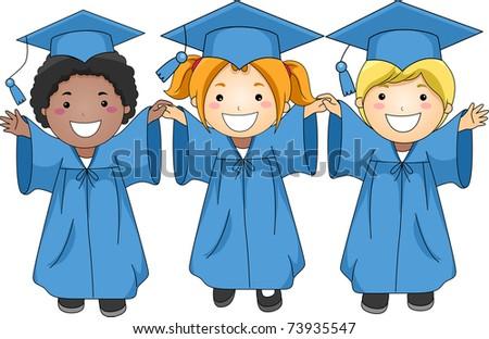 Illustration of Graduates Jumping Happily - stock vector