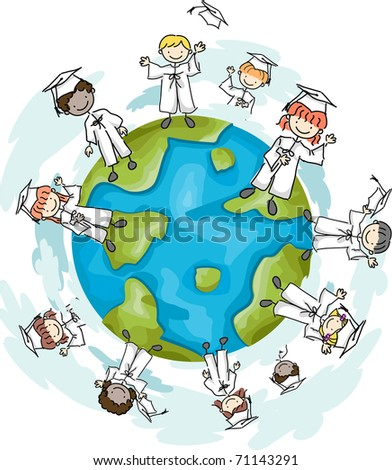 Illustration of Graduates Standing on the Top of the World - stock vector