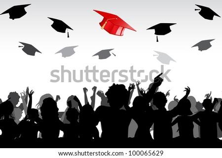 illustration of graduates tossing mortar board in air - stock vector