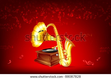 illustration of gramophone and saxophone on musical background - stock vector