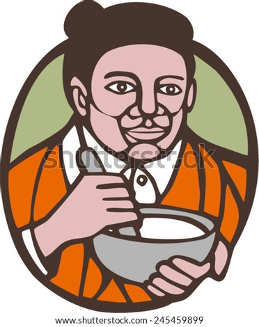 Illustration of granny chef, cook or baker holding mixing bowl set inside oval shape on isolated background done in woodcut linocut style. - stock vector