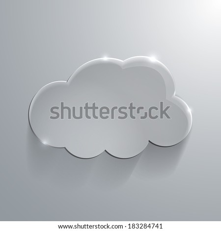 Illustration of Gray eco glossy glass cloud icon vector illustration