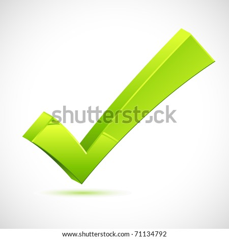 illustration of green check mark on isolated background - stock vector