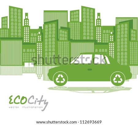 Illustration of green city with  car, ecological concept, vector illustration - stock vector