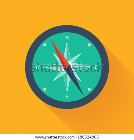 Illustration of Green compass circle icon - stock vector