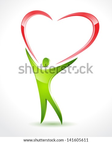 Illustration of green figure holding a large red heart - stock vector