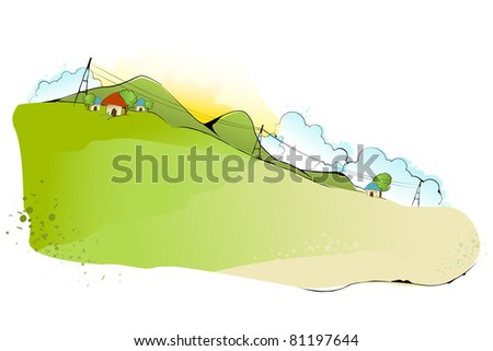 illustration of green landscape in abstract style - stock vector