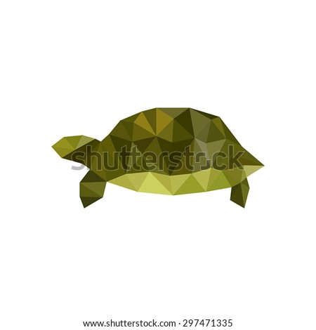 Illustration of green origami turtle isolated on white background