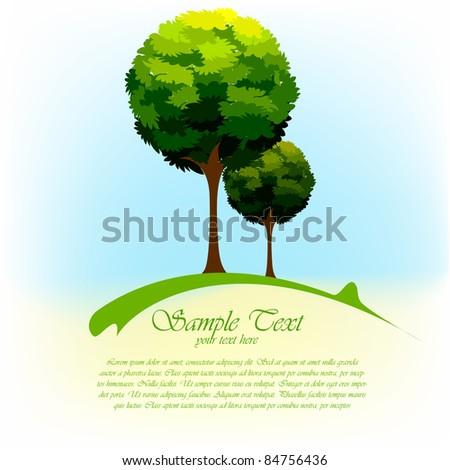 illustration of green tree in natural landscape - stock vector