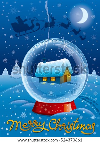 illustration of greeting merry christmas celebration card