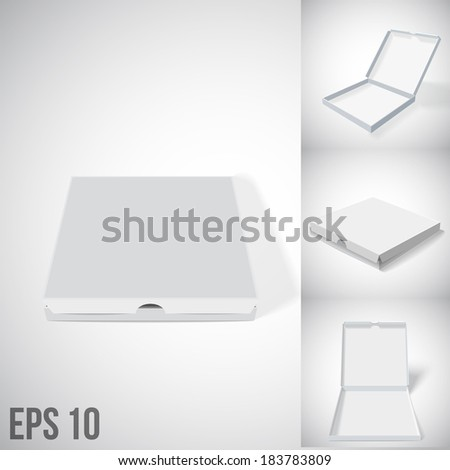 illustration of grey cloze and open pizza box - stock vector