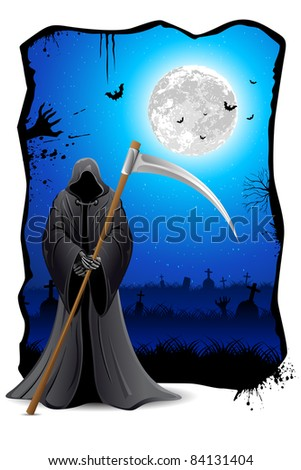illustration of grim holding sword in scary night - stock vector