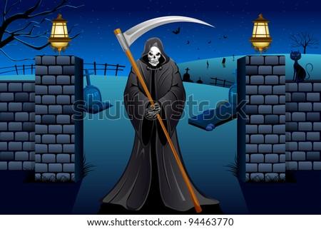 illustration of grim holding sword standing near graveyard - stock vector