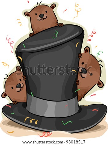 Illustration of Groundhogs Peeking From Behind a Hat - stock vector