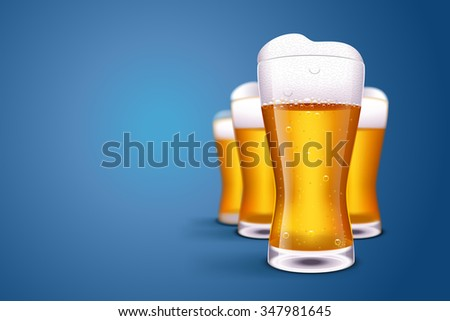 illustration of group of beer glasses on blue background