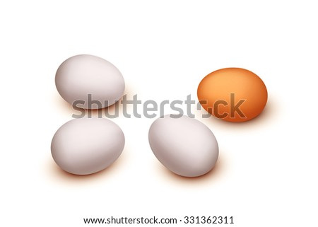 illustration of group of different color eggs on white background