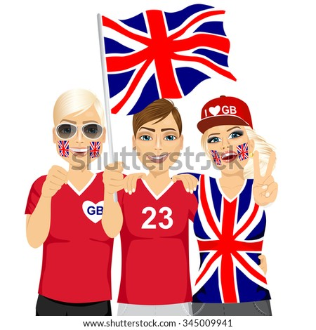 illustration of group of young british soccer fans cheering their national football team